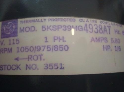 Motor Ventilador Doble Eje 1/6 Hp General Electric 4938at