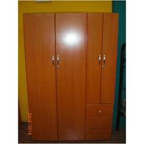 Closet O Escaparate 4 Puertas, 3 Gavetas Color Cerezo