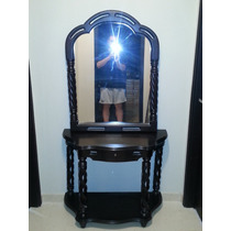 Espectacular Mueble Tipo Consola Con Espejo De Madera Wenghe