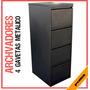 Archivador Metalico 4 Gaveta Vertical Negro Mobiliario