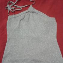 Blusa Escarchada Plateada...talla S Anudada Al Cuello Usada