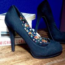 Zapato Tacón Alto Negro De Gamuza Marca Zara Mujer Talla 37