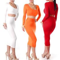 Maxi Faldas De Jersey Para Dama Bohemia Crop Top Ultima Moda