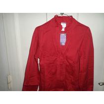 Camisa Roja Manga Larga Roja Dama Talla M Tela Poliéster.