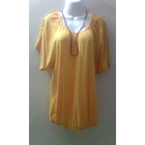 Blusa De Vestir Talla L/g De Dama Amarilla Plus