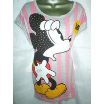 Blusa Dama Mickey Mouse Moda Larga Combina Leggins Bluson