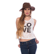 Franela Corta Saints Clothes De Encajes Love Black