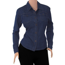 Blusa Dama Jean Manga Larga Diseño Orginal Moda Ref: 1701