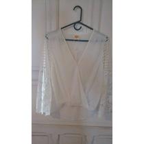 Blusa De Vestir Elegante Blanco Ostra Nueva!!! Talla L