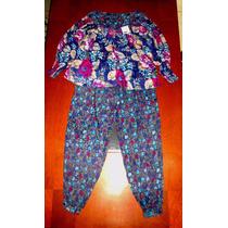Lindo Conjunto Hindú Blusa Pantalón Algodón New York T S / M