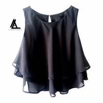 Blusa Crop Top Chifon