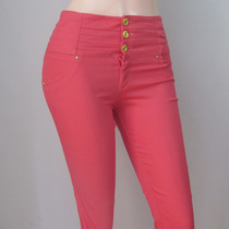 Pantalon Dama Strech Diseño Talle Alto A La Moda. Ref: 4402