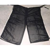 Pantalon Pareo Playero Negro - Conchas De Nacar Y Bordados