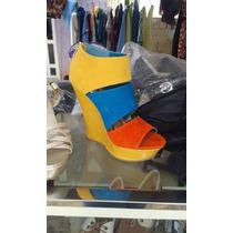 Sandalias Tricolor Como Nuevas, Usadas Una Sola Vez