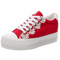 Zapato Plataforma Tipo Importados Rojo Talla 37 / 23 Cmts