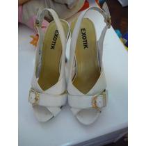 Sandalias Talla 37 Marca Exotic De Cuero Color Blanca