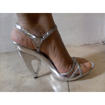 Sandalias Plateadas, Tacon Alto , Talla 39