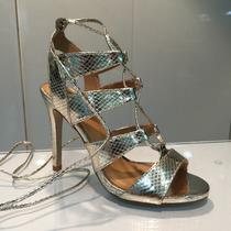 Sandalia Dorado De Tacón Trenzada Importadas Para Damas