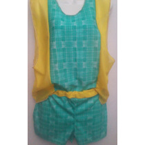 Conjunto Playero De Camiseta Y Short Verde Y Amarillo
