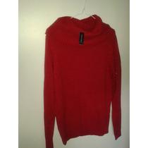 Swetear Rojo Importado Talla L Cuello Bobo