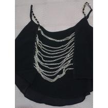 Elegante Crop Top Negro Escote Posterior Cadenas M / L