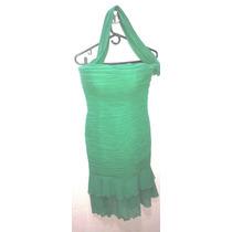 Vestido Usado Color Verde Talla M En Chifon Plizado