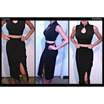 Conjunto Elegante Crotop Y Falda Alta Corte Lápiz Vestidos