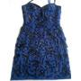 Vestido Corto Azul Noche Coctel Talla 8 Diseño Italiano Usad