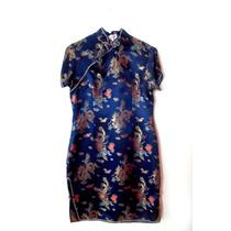 Vestido Chino Azul, Semiformal Usado