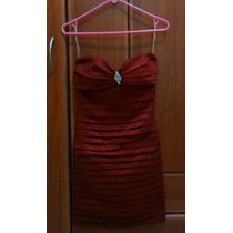 Vestido Formal Plisado Vinotinto (talla M)