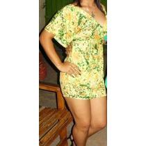 Vestido Juvenil Corto Amarillo Y Verde Talla M