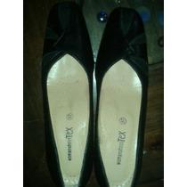 Zapatos En Cuero Colot Negro Con Detalles De Gamuza