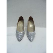 Zapatos Plata Escarchados, De Fiesta: #37-tacón 10