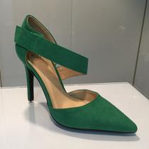 Zapato Verde Gamuza Tacón Medio Para Damas Importados Hellas