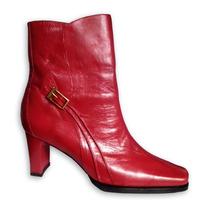 Botines Botas Tacones De Piel Italiana Damas Rojo