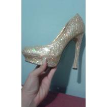 Bellos Zapatos 39 Dorados Marca Liliana, Usados Solo Una Vez