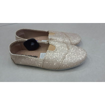 Zapatos Tipo Toms Dorado Plata