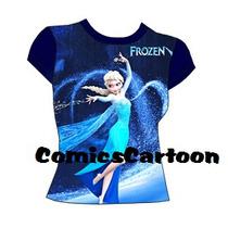 Franelas Frozen Elsa Y Anna Niñas Moda 2-4-6-8-10-12-14