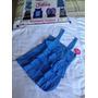 Camiseta Justice Flores Azul Con Piedras Plateadas. Talla 8