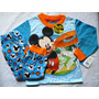 Mickey Mouse Pijama Manga Larga Niño Franela Import Orig