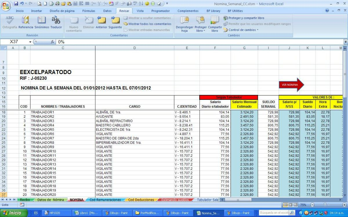Excel formato para pago de impuestos 2016 persona fisica for Liquidacion de nomina excel 2016