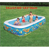 Piscina Familiar Inflable 3 Anillos 305 X 183 X 56cm