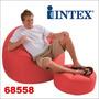 Silla Sillon + Puff Inflable Hogar 68558 Intex 100kg Maximo