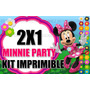 Kit Imprimible Minnie Party Flores 2x1