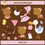 Kit Imprimible Baby Shower Nena 12 Imagenes Clipart