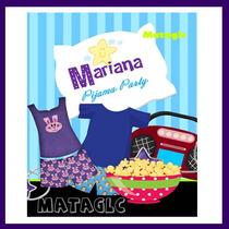 Kit Imprimible Pijamada Fiesta Niñas Tarjetas Invitaciones