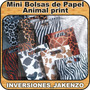 6 Mini Bolsas De Papel Animal Print Bond 24 Recuerdo Regalo