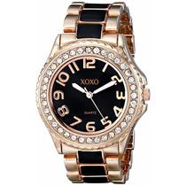 Reloj Xoxo Oro Rosa De Tono Y Negro Epoxi Reloj Pulsera