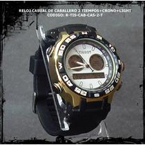 Reloj Casual De Caballero 2 Tiempos+crono+light