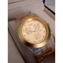 Espectacular Reloj Dorado Para Damas Y Caballeros Mica 5cm